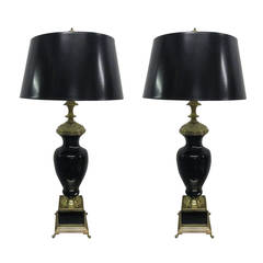 Pair of Black Opaline and Brass Lamps