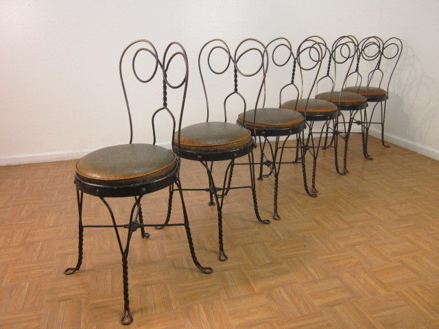 Merveilleux Vintage Wrought Iron Ice Cream Parlor Chairs With Original Vinyl Cushioned  Seats.