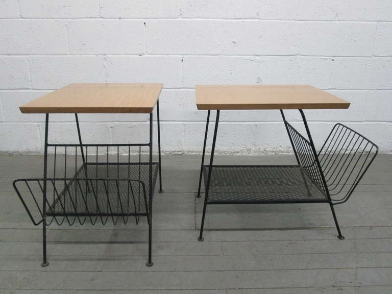 Pair Of 1960s Wrought Iron Magazine Tables By Arthur