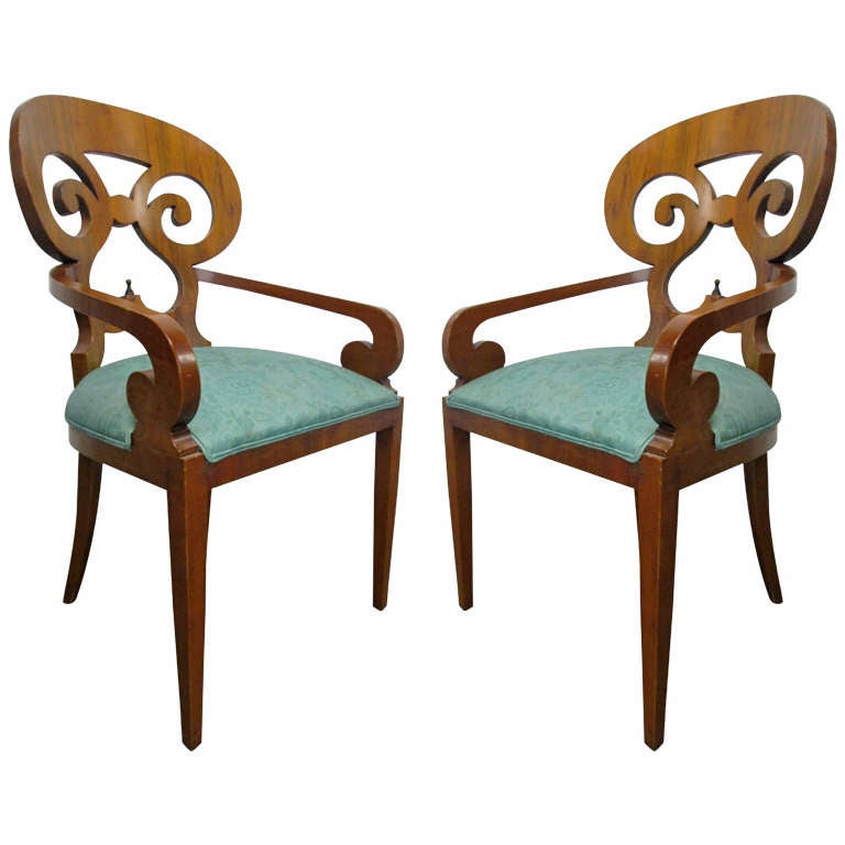 Pair Biedermeier Arm Chairs At 1stdibs