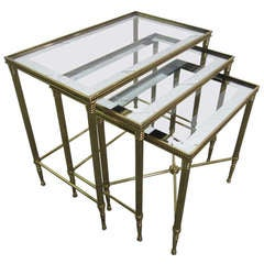 French Brass Nesting Tables By Maison Bagues