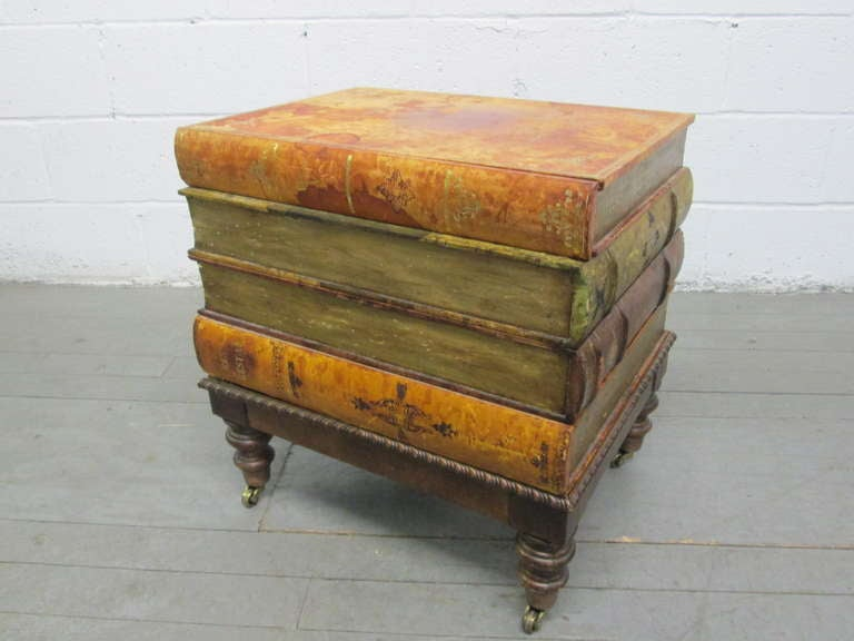 Great Italian Vintage Faux Book End Table 2