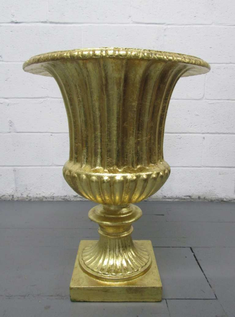 Pair Oversized Gold Gilted Urn Planters For Sale At 1stdibs