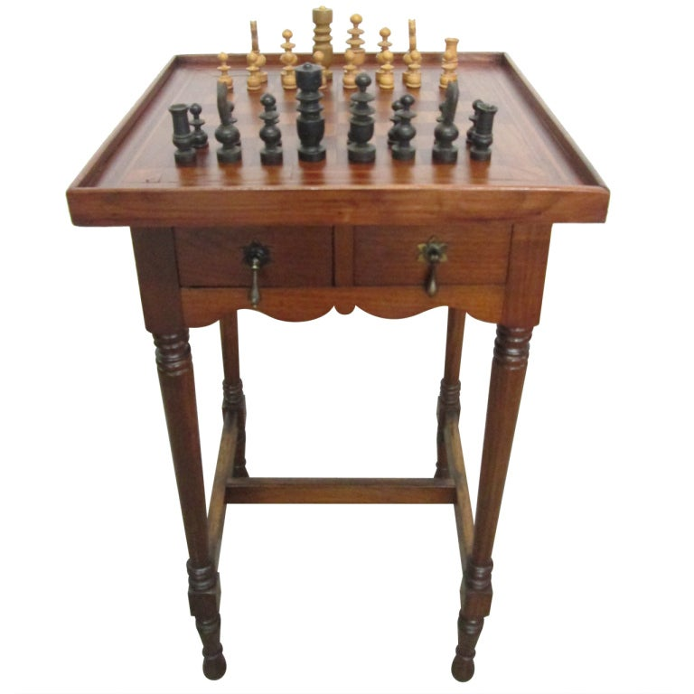 Antique Inlaid Chess Table At 1stdibs