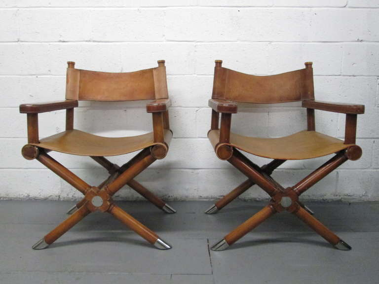 Pair of Ralph Lauren Leather Director Chairs at 1stdibs
