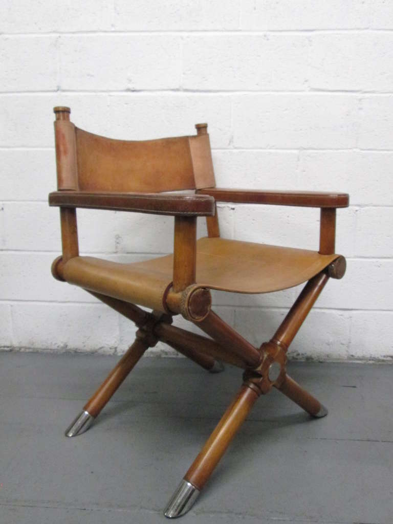 Superior American Pair Of Ralph Lauren Leather Directoru0027s Chairs For Sale