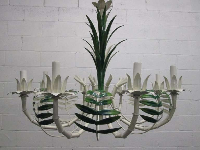 French faux bamboo eight-arm chandelier with painted tole palm leaves. Hollywood Regency. Has ceiling canopy.