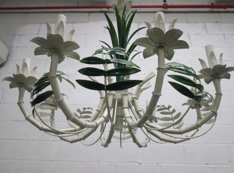 Mid-20th Century French Faux Bamboo Eight-Arm Tole Chandelier For Sale