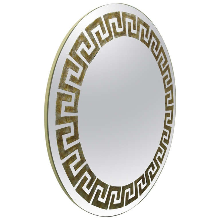 Reverse Gilt Greek Key Mirror by David Marshall
