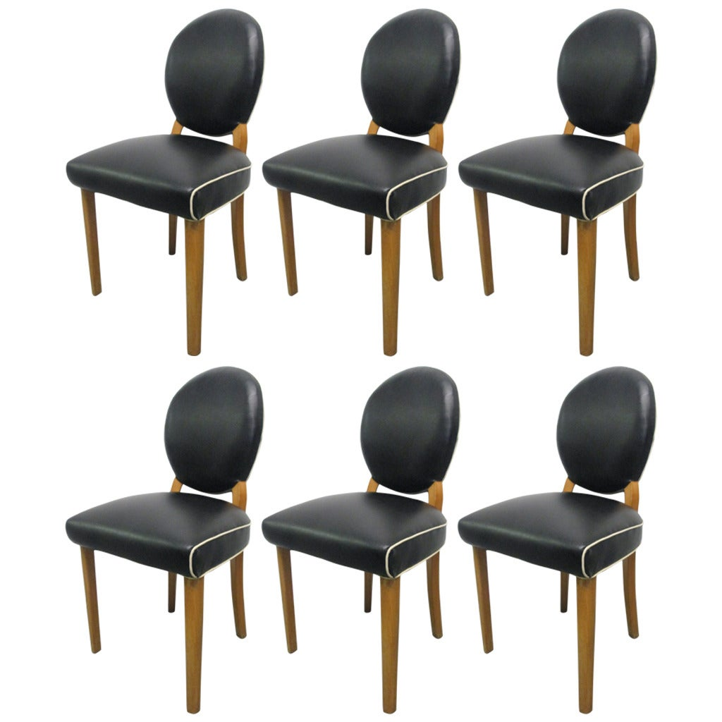 Six Art Deco Leather Dining Chairs