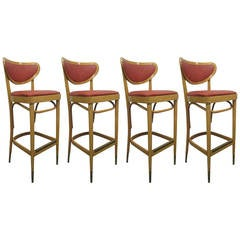 Four Vintage Bentwood Stools