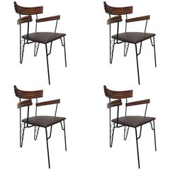 Four 1950s Decorative Wrought Iron and Rattan Chairs