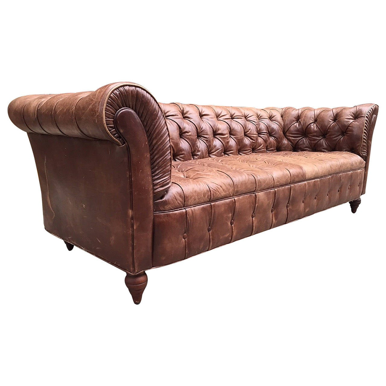 vintage leather chesterfield sofa for sale at 1stdibs. Black Bedroom Furniture Sets. Home Design Ideas