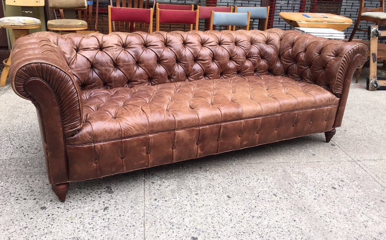 Vintage Leather Chesterfield Sofa At 1stdibs