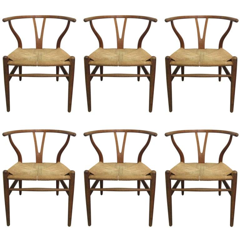 6 wishbone hans wegner y chairs at 1stdibs. Black Bedroom Furniture Sets. Home Design Ideas