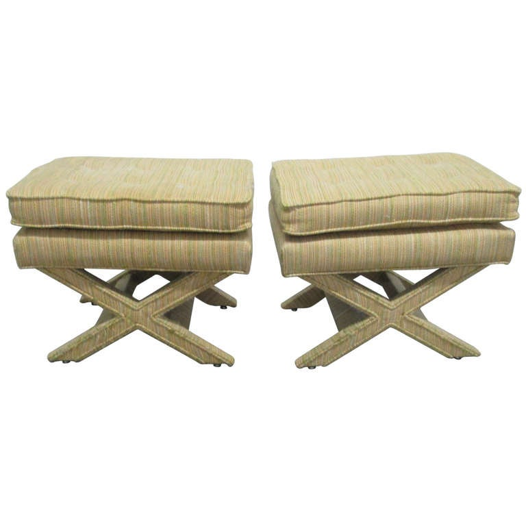 Pair Upholstered Billy Baldwin X Benches At 1stdibs