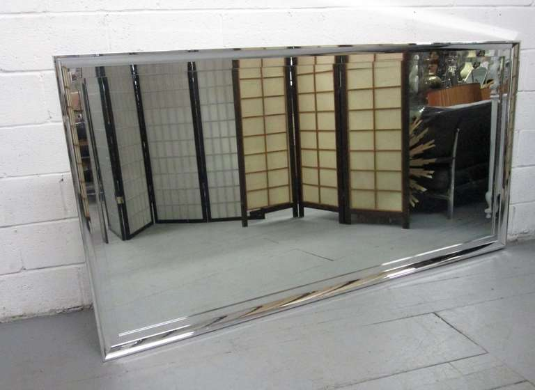 large chrome framed beveled mirror 2