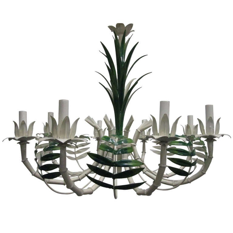 French Faux Bamboo Eight-Arm Tole Chandelier For Sale
