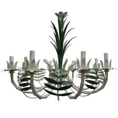 French Faux Bamboo Eight-Arm Tole Chandelier
