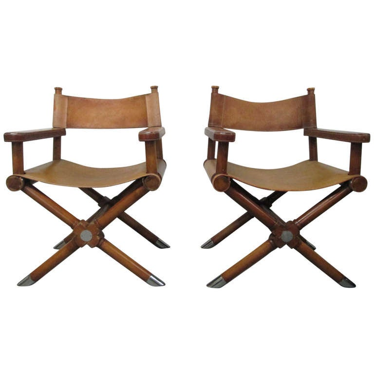 Awe Inspiring Pair Of Ralph Lauren Leather Directors Chairs At 1Stdibs Ibusinesslaw Wood Chair Design Ideas Ibusinesslaworg