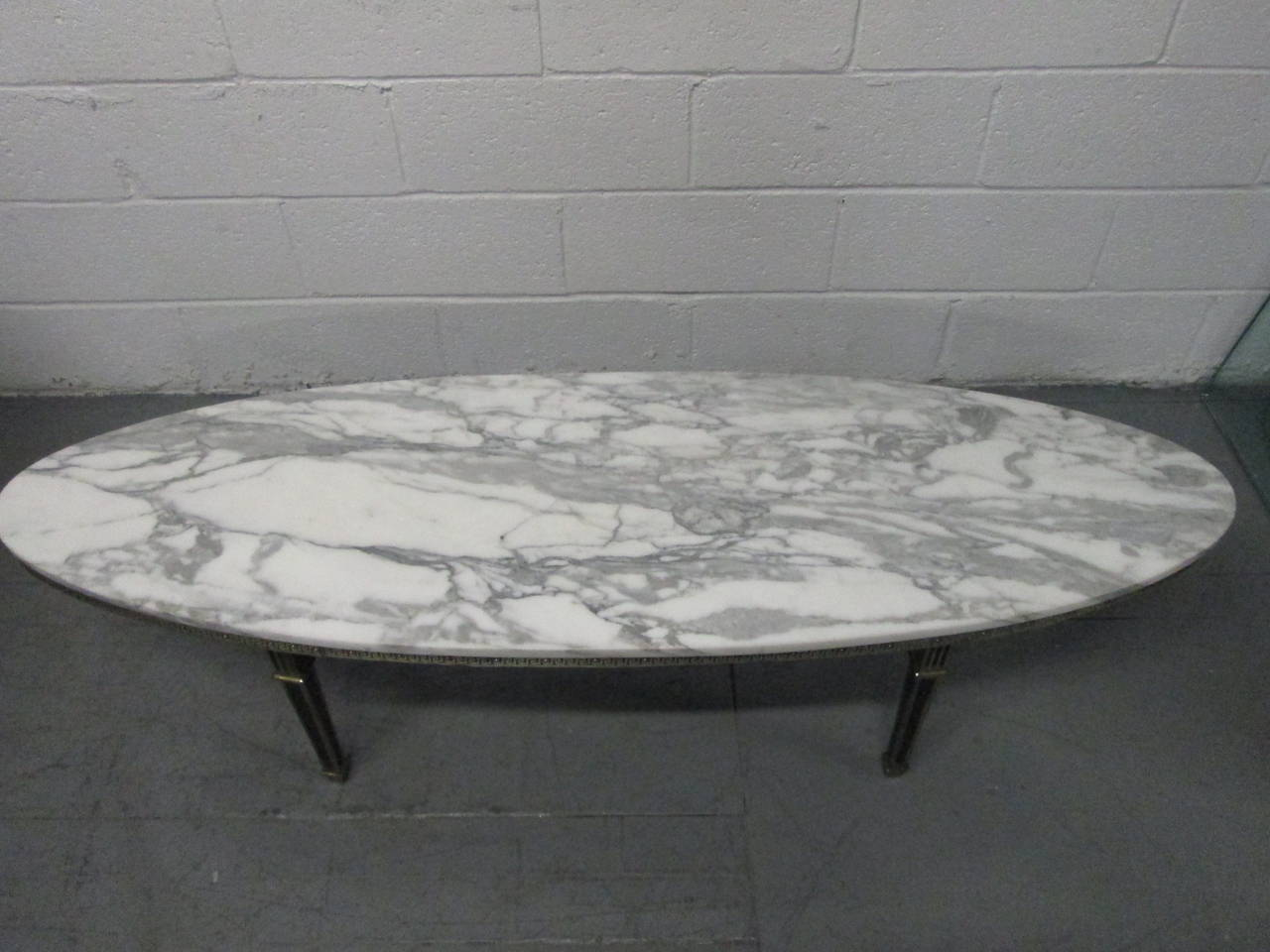 Hollywood Regency Style Oval Marble Top Coffee Table At 1stdibs
