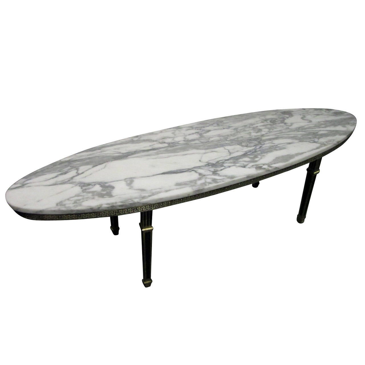Hollywood Regency Oval Brass Marble Top Coffee Table For Sale At 1stdibs