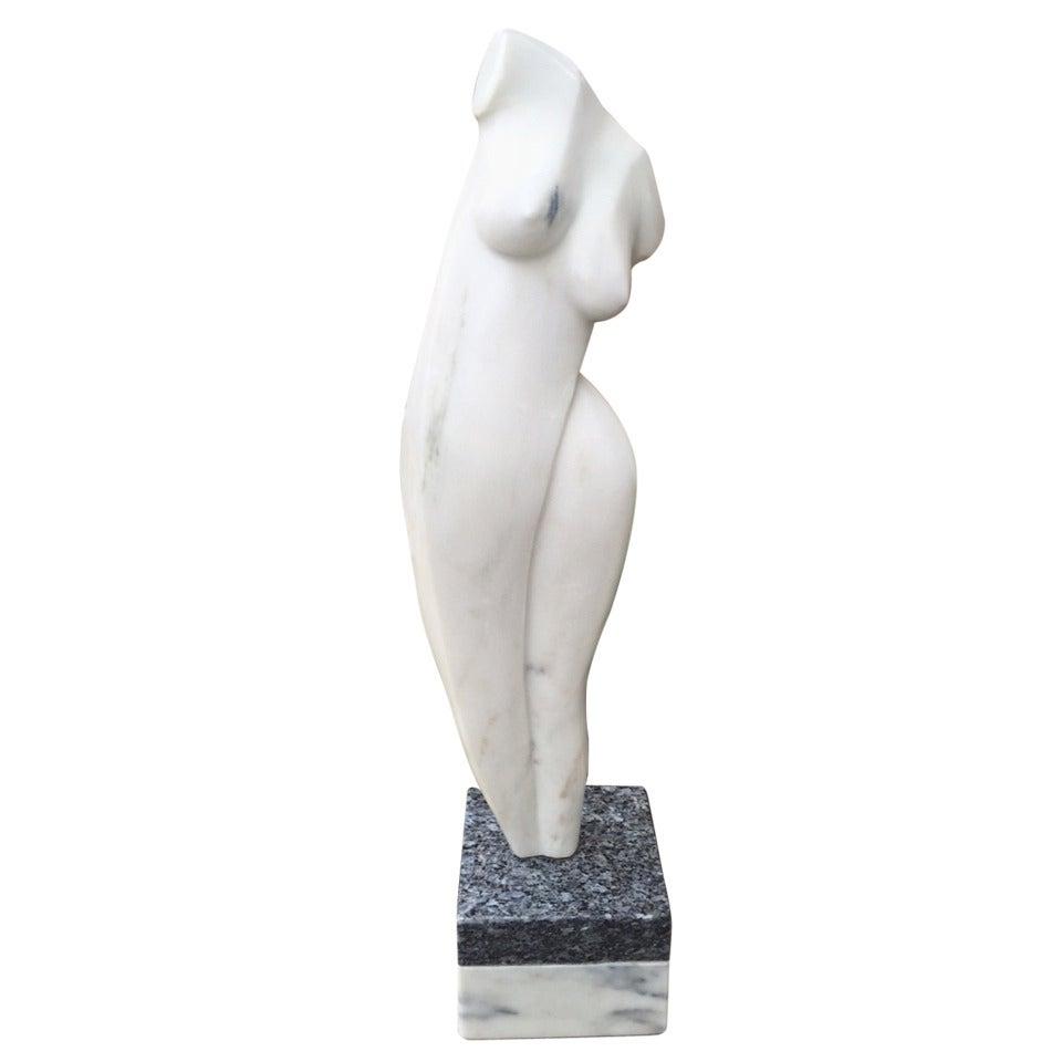Oversized Nude Italian Marble Sculpture