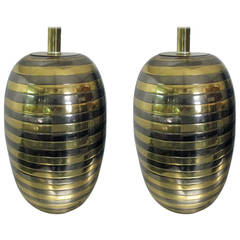 Pair of Mixed Metal Honeycomb Lamps