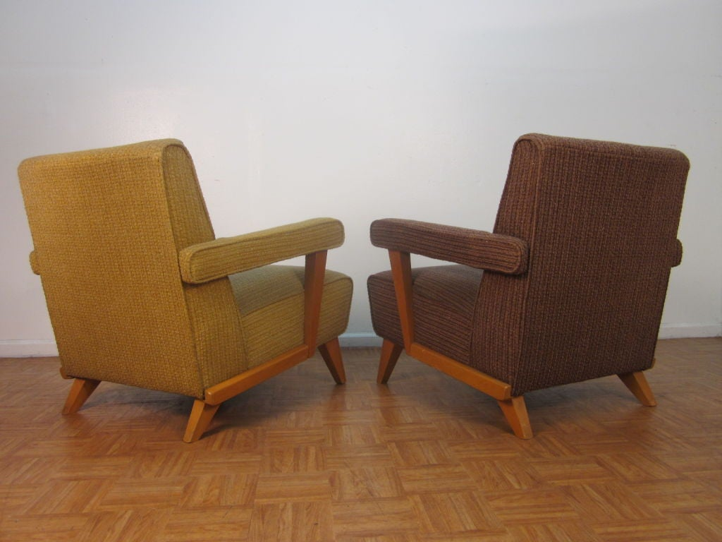 Pair Of Mid Century Upholstered Arm Chairs At 1stdibs. Full resolution  img, nominally Width 1024 Height 768 pixels, img with #724828.
