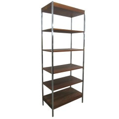 1960s Chrome & Walnut Etagere