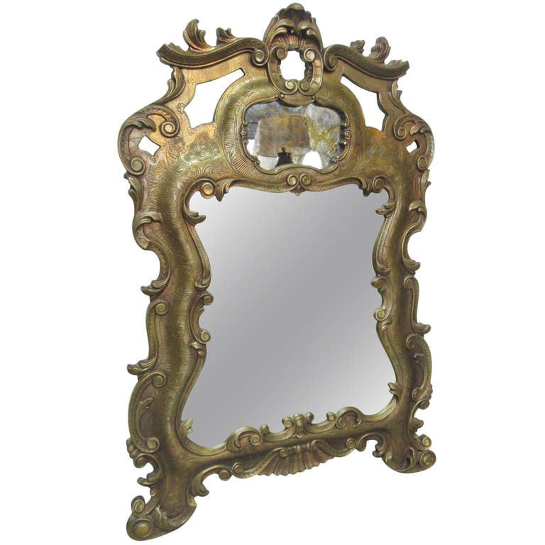 Large antique style mirror w eglomise top at 1stdibs for Antique looking wall mirrors