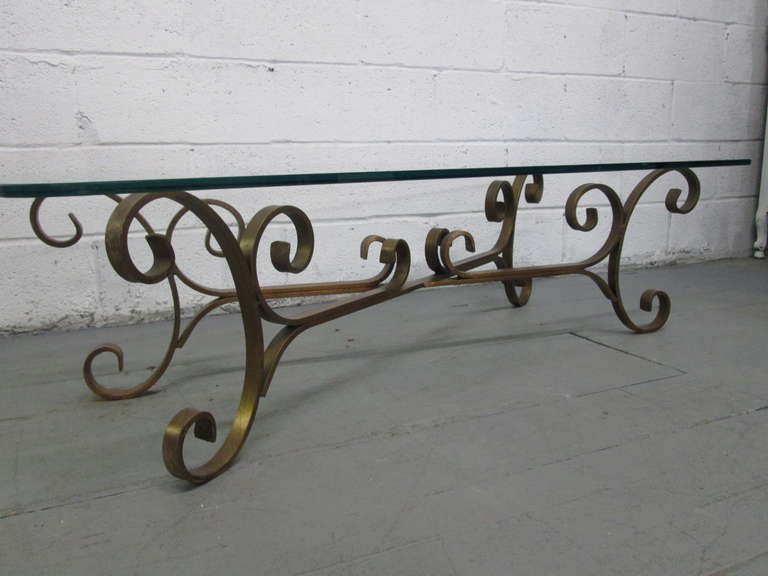 french gilded wrought iron coffee table for sale at 1stdibs