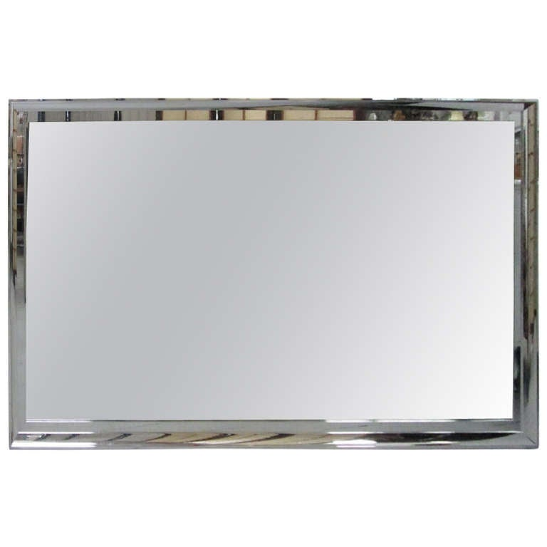 Large chrome framed beveled mirror for sale at 1stdibs for Tall framed mirror