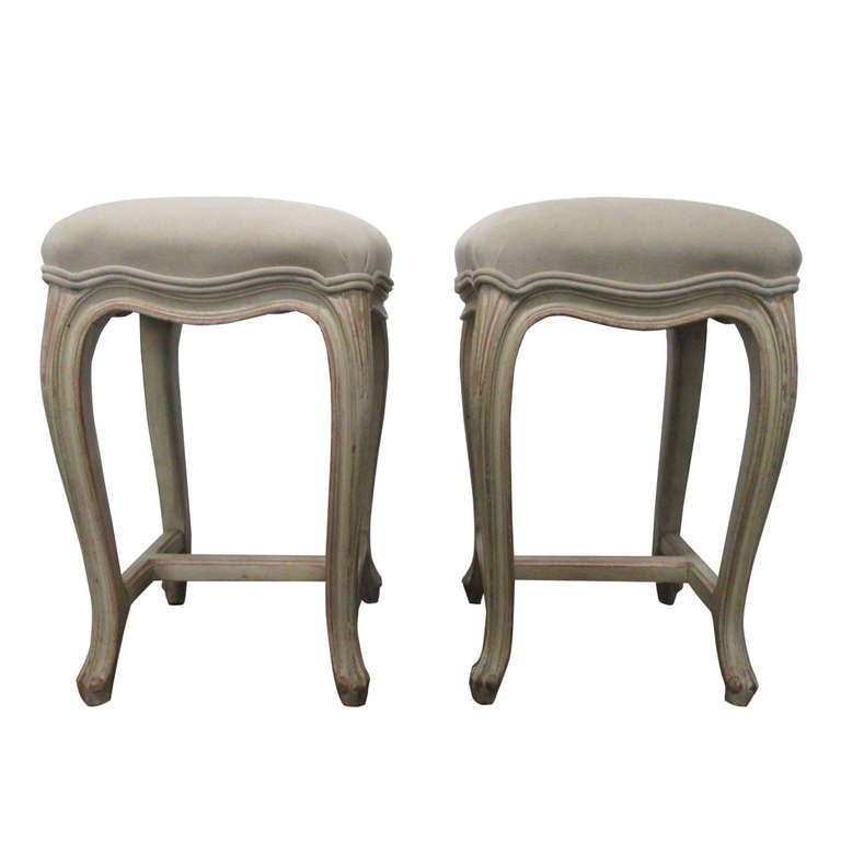 French Painted Upholstered Stools