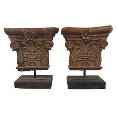 Pair of Antique Architectural Terra Cotta Corinthian Stands