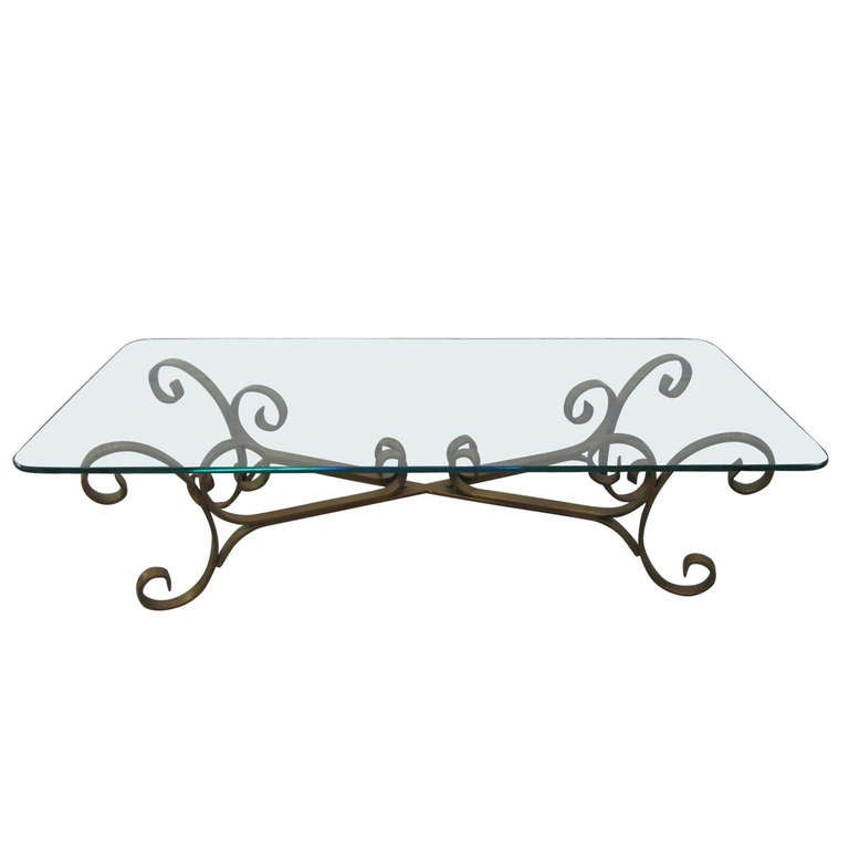 Superb French Gilded Wrought Iron Coffee Table 1