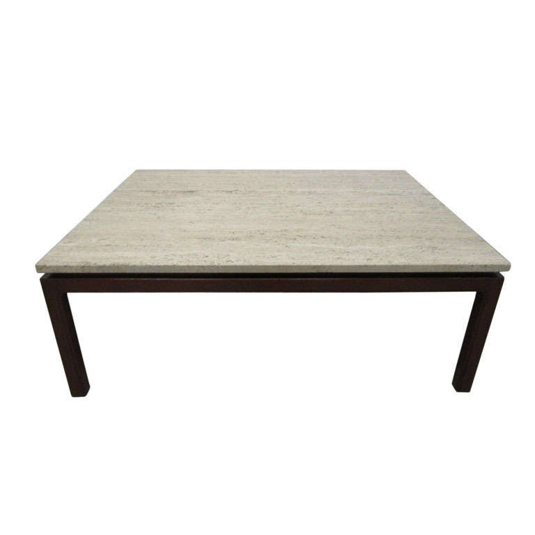 Travertine Top Coffee Table By Edward Wormley For Dunbar At 1stdibs