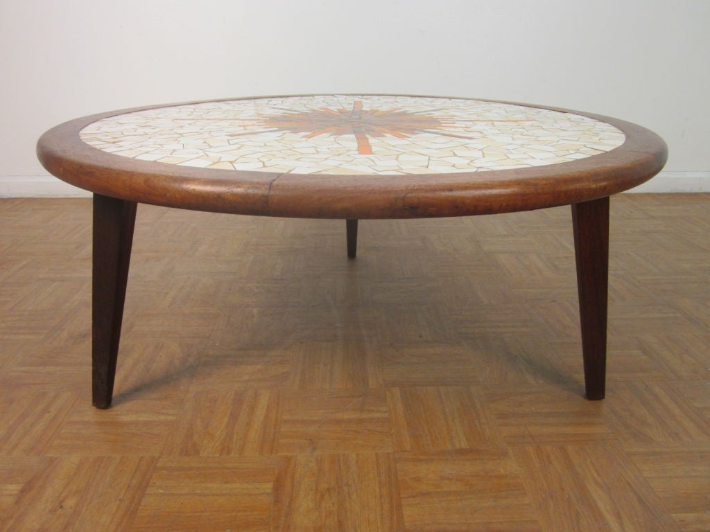 Solid Walnut Tile Top Round Coffee Table At 1stdibs