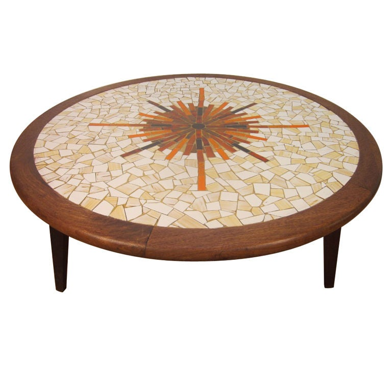 Solid Granite Top Coffee Table: Solid Walnut Tile-Top Round Coffee Table For Sale At 1stdibs