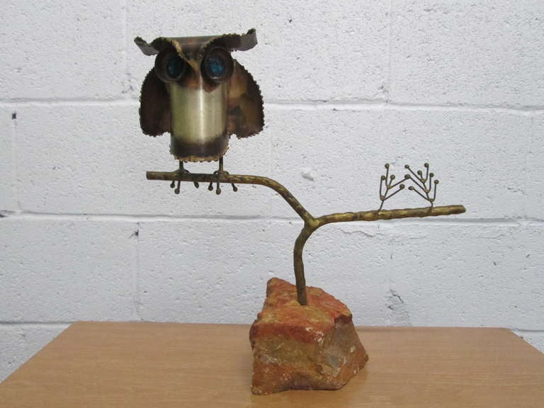 Signed Curtis Jere '69 owl sculpture on stone base. Sculpture is removable from base.