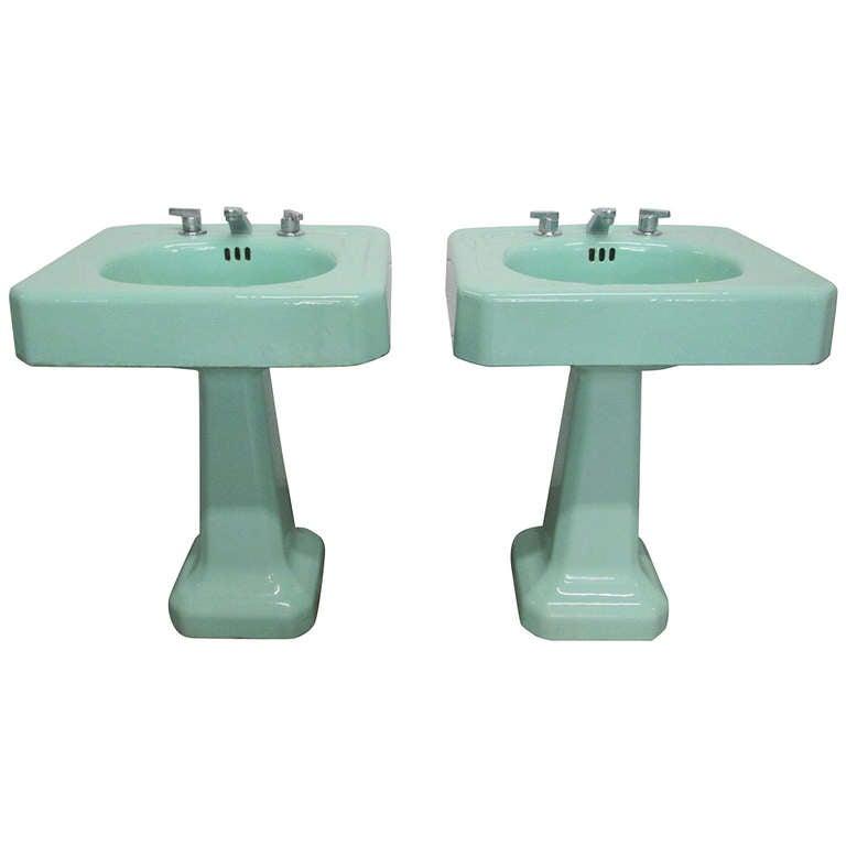 Porcelain Utility Sink Freestanding : Pair Vintage Porcelain Pedestal Sinks at 1stdibs