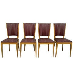 4 French Art Deco Chairs Attributed To LELEU