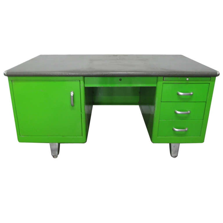 1950s Industrial Green Desk At 1stdibs