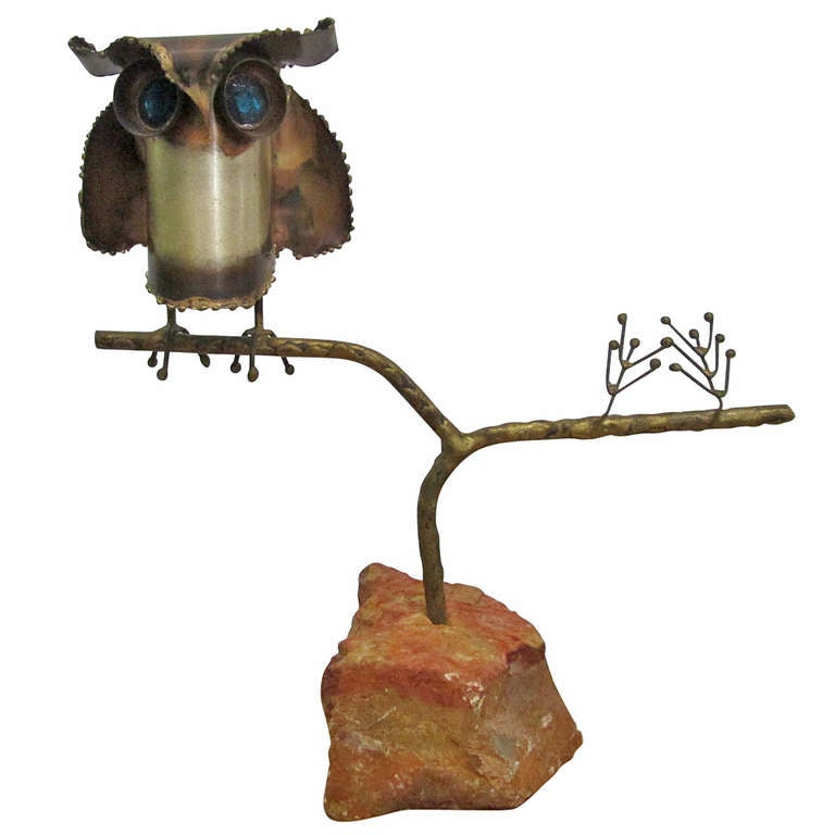 Curtis Jere Owl Sculpture on Stone Base For Sale