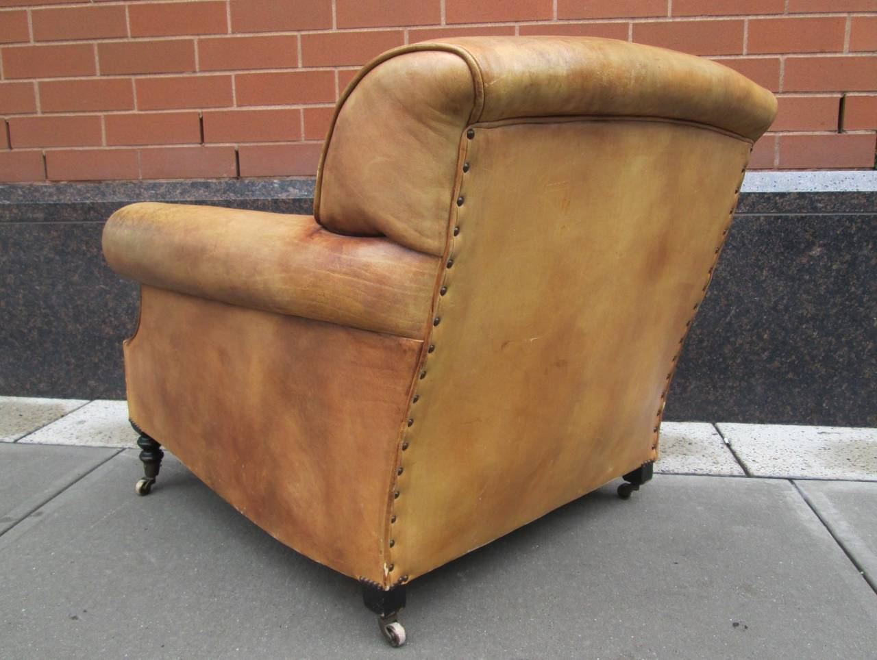 Leather Lounge Chair And Ottoman By George Smith. Distressed Leather With  Wood Legs And Casters