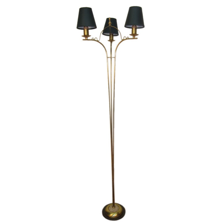 Italian Brass and Porcelain Floor Lamp