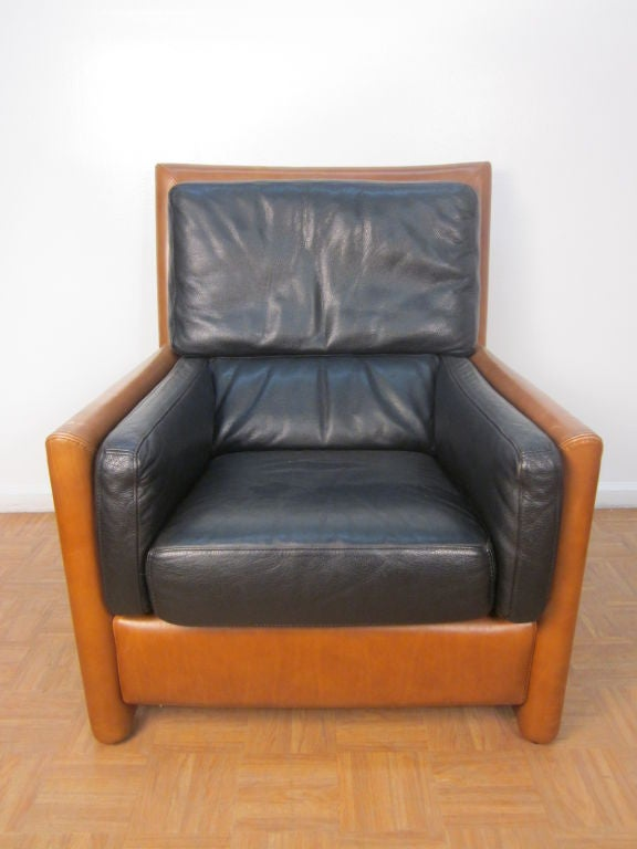 roche bobois leather chair and matching ottoman at 1stdibs. Black Bedroom Furniture Sets. Home Design Ideas