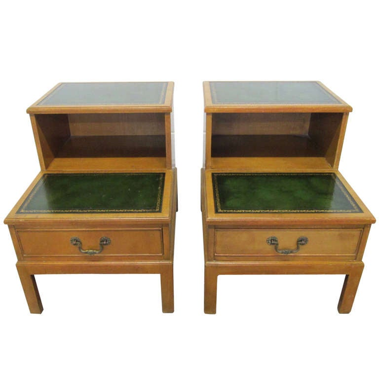 Pair Green Leather Top Step End Tables By Hekman At 1stdibs