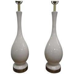 Pair Long Stem Ceramic Crackle Lamps