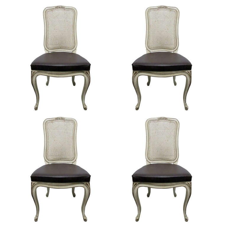 Set of Four Henredon Cane Back Dining Chairs at 1stdibs